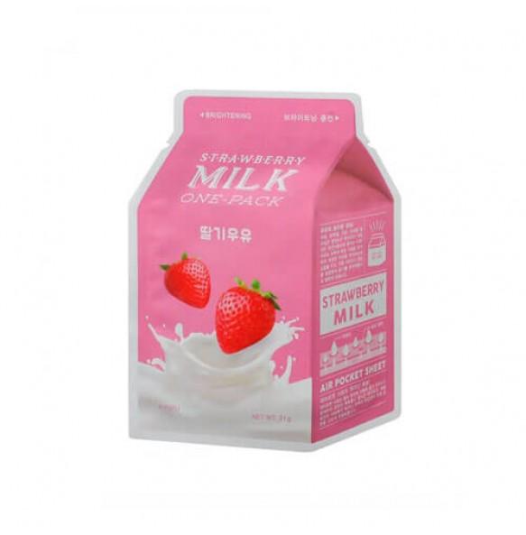 Молочная тканевая маска A'PIEU Milk One Pack Strawberry