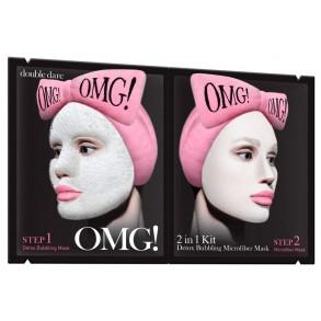 Двухкомпонентная маска для очищения лица Double Dare Omg! 2in1 Kit Detox Bubbling Microfiber Mask