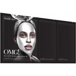Трехкомпонентный восстанавливающий комплекс масок Double Dare OMG! Platinum Silver Facial Mask Kit