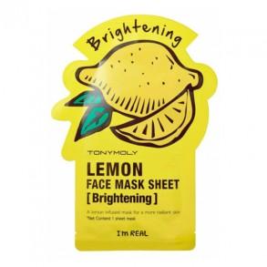 Осветляющая тканевая маска для лица с экстрактом лимона Tony Moly I'm Real Lemon Mask Sheet