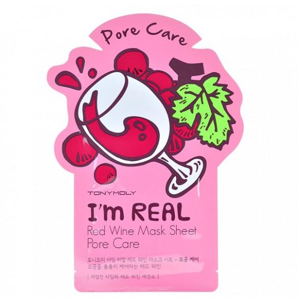 Тканевая маска для сужения пор с экстрактом красного вина Tony Moly I'm Real Red Wine Mask Sheet
