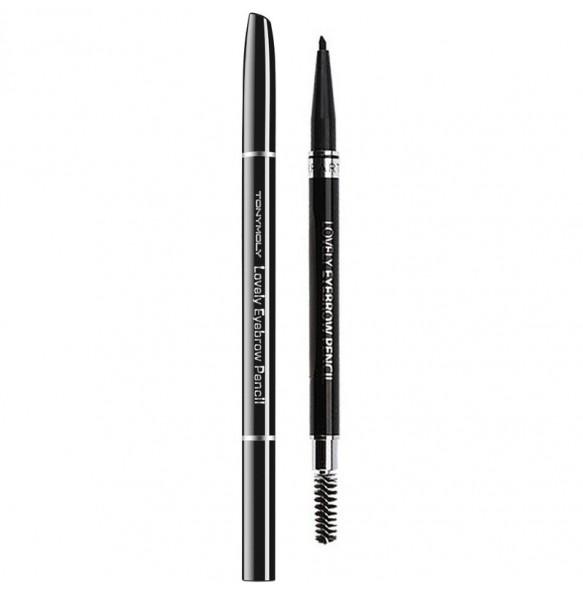 Карандаш для бровей тёмно-коричневый Tony Moly Lovely Eyebrow Pencil 05 Black Brown