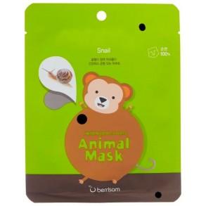 Тканевая маска с муцином улитки Berrisom Animal Mask Snail Series Monkey