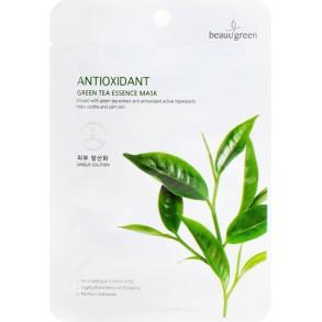 Тканевая маска для лица с экстрактом зелёного чая BeauuGreen Antioxidant Green Tea Essence Mask