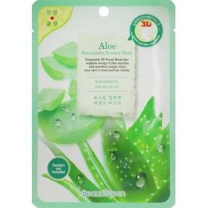 Успокаивающая тканевая маска для лица с алоэ BeauuGreen Contour 3D Aloe Essence Mask