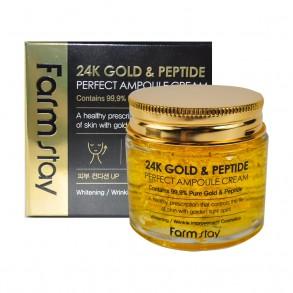 Ампульный крем с золотом и пептидами FarmStay 24K Gold & Peptide Perfect Ampoule Cream
