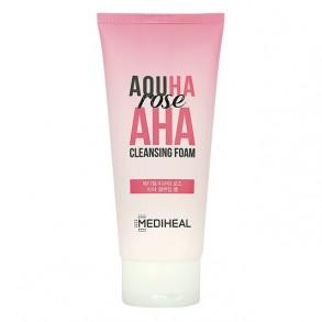 Пенка для умывания с АНА кислотами Mediheal Aquha Rose AHA Cleansing Foam