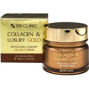 Антивозрастной крем для разглаживания морщин с коллагеном и золотом 3W Clinic Collagen & Luxury Gold Cream