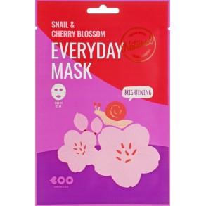 Маска для лица с экстрактом слизи улитки и вишни Dearboo Everyday Mask Snail & Cherry Blossom