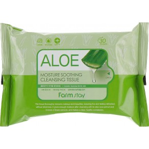 Очищающие салфетки с алое FarmStay Aloe Moisture Soothing Cleansing Tissue