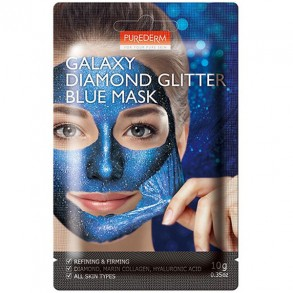 """Очищающая и укрепляющая маска-пленка для лица """"Синяя"""" Purederm Galaxy Diamond Glitter Blue Mask"""