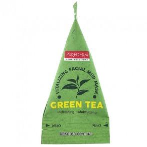 Освежающая маска с экстрактом зеленого чая Purederm Green Tea Vitalizing Facial Mud Mask