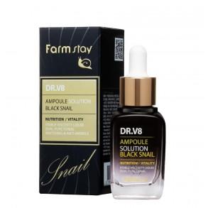 Ампульная сыворотка для лица с муцином черной улитки Farmstay Dr.V8 Ampoule Solution Black Snail