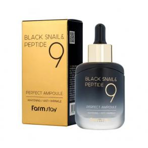 Антивозрастная сыворотка с черной улиткой и пептидами FarmStay Black Snail & Peptide 9 Perfect Ampoule